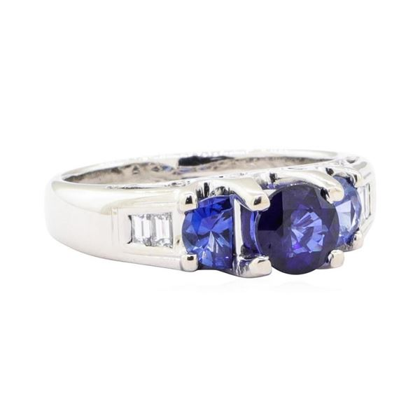 1.84 ctw Sapphire and Diamond Ring - 18KT White Gold