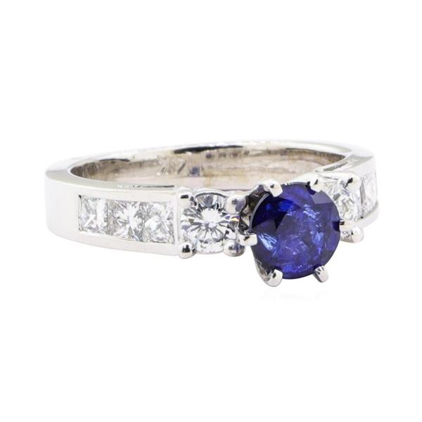 1.88 ctw Sapphire And Diamond Ring - 14KT White Gold