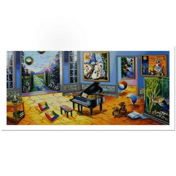 """Alexander Astahov, """"Black Piano"""" Hand Signed Limited Edition Serigraph with Lett"""