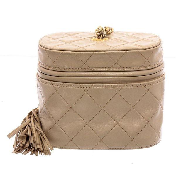 Chanel Beige Lambskin Leather Vintage Tassel Mini Vanity Chain Shoulder Bag