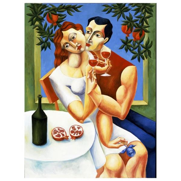 """Yuroz, """"Toast To Love"""" Hand Signed Limited Edition Serigraph on Canvas with Cert"""