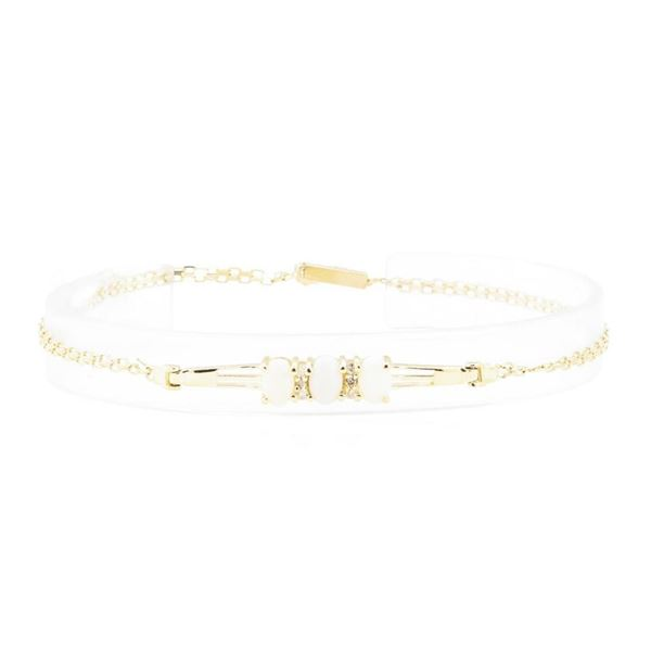 1.60 ctw Opal and Diamond Bracelet - 14KT Yellow Gold
