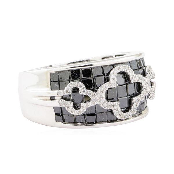 2.91 ctw Black and White Diamond Ring - 14KT White Gold