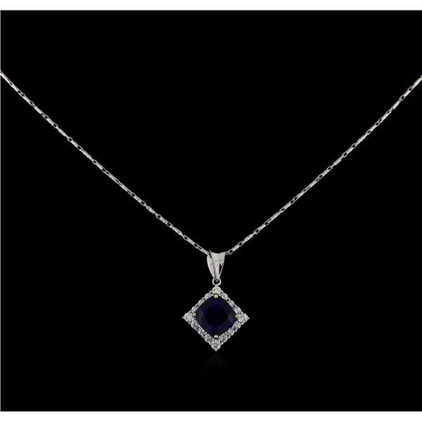 18KT White Gold 3.18 ctw Sapphire and Diamond Pendant With Chain