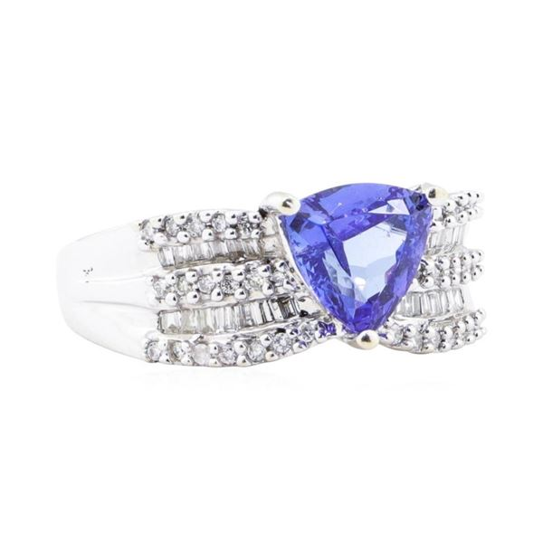 2.54 ctw Tanzanite And Diamond Wide Band - 14KT White Gold