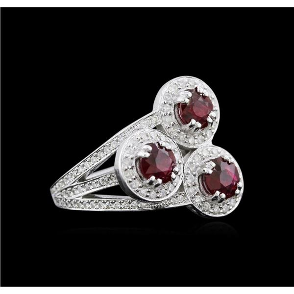2.64 ctw Ruby and Diamond Ring - 14KT White Gold