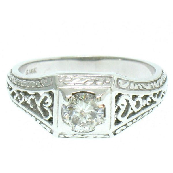 14k White Gold Etched Open Filigree Work .51 ctw Diamond Solitaire Ring
