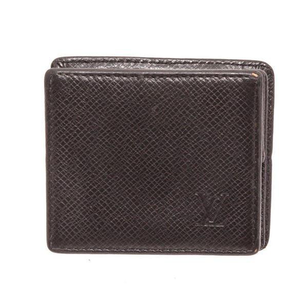 Louis Vuitton Black Taiga Leather Boite Coin Case Wallet