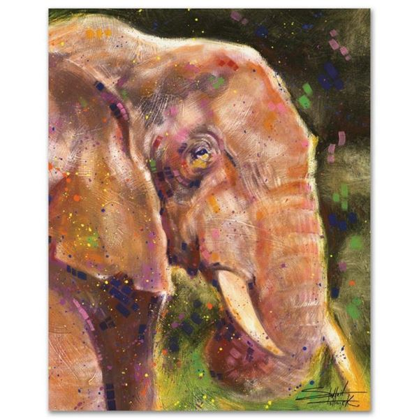 """Elephant"" Limited Edition Giclee on Canvas by Stephen Fishwick, Numbered and Si"