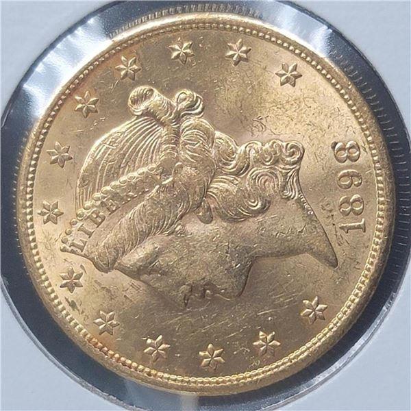 1898-S 20$  Liberty Head Double Eagle Gold Coin BU+