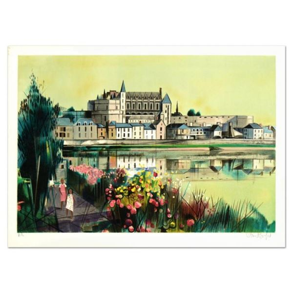 """Robert Vernet Bonfort, """"The River"""" Limited Edition Lithograph, Numbered and Hand"""