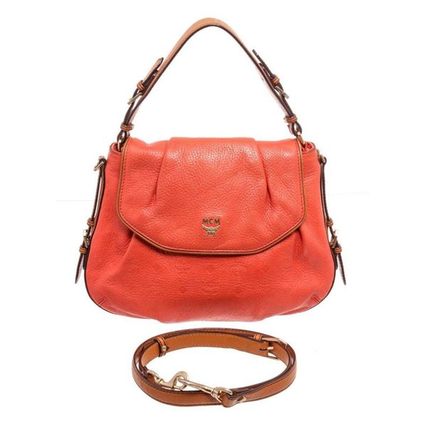 MCM Orange Leather Crossbody Bag