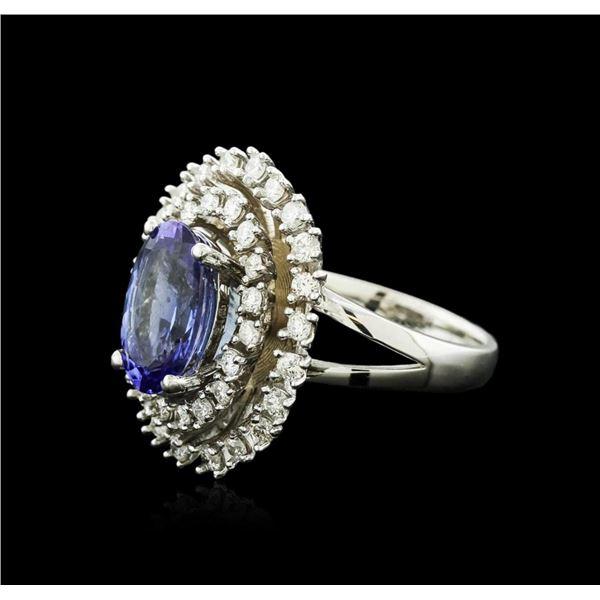 14KT White Gold 4.20 ctw Tanzanite and Diamond Ring