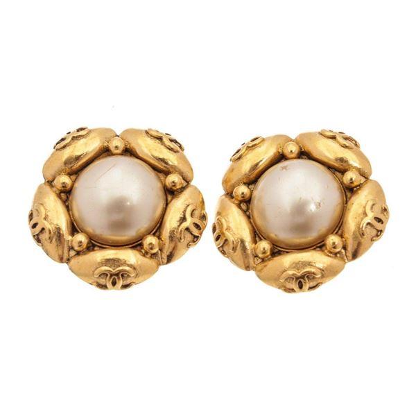 Chanel Gold Camelia Pearl Earrings