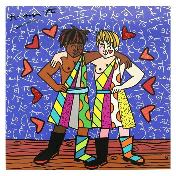 "Britto, ""Gemini Boys (Black & White)"" Hand Signed Limited Edition Giclee on Canv"