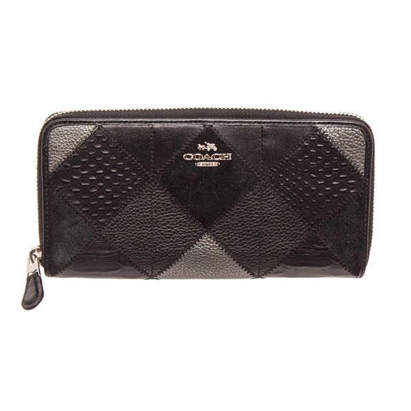 Coach Black Metallic Leather Patchwork Zippy Wallet