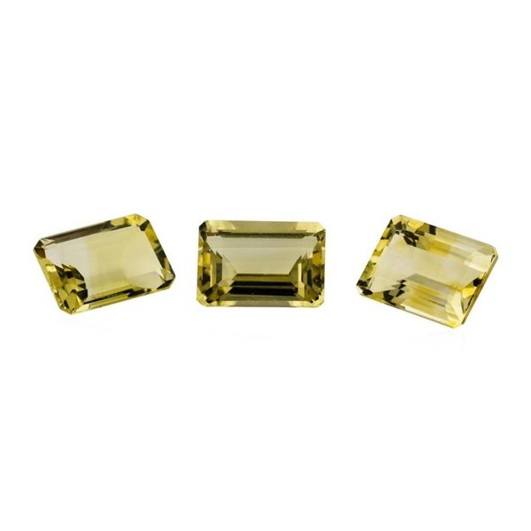 20.84 ctw.Natural Emerald Cut Citrine Quartz Parcel of Three