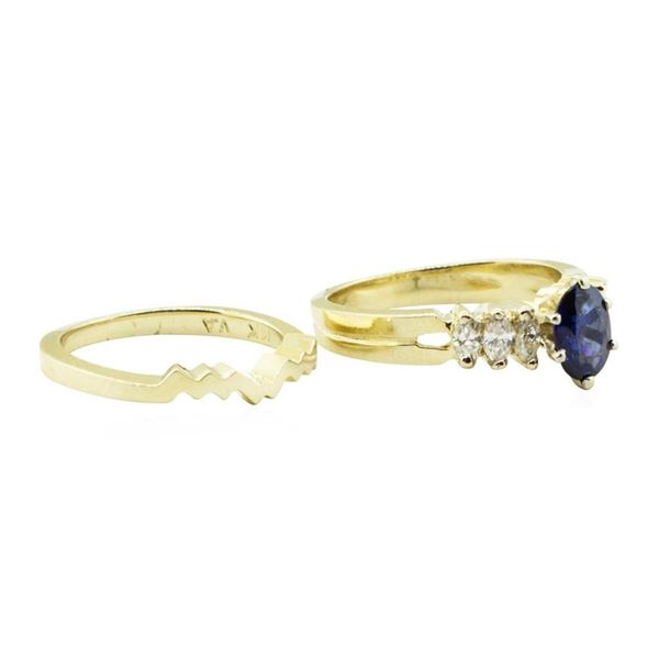 1.25 ctw Blue Sapphire and Diamond Ring Set - 14KT Yellow Gold