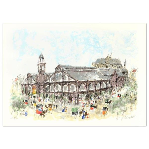 "Urbain Huchet, ""Les Halles"" Limited Edition Lithograph, Numbered and Hand Signed"