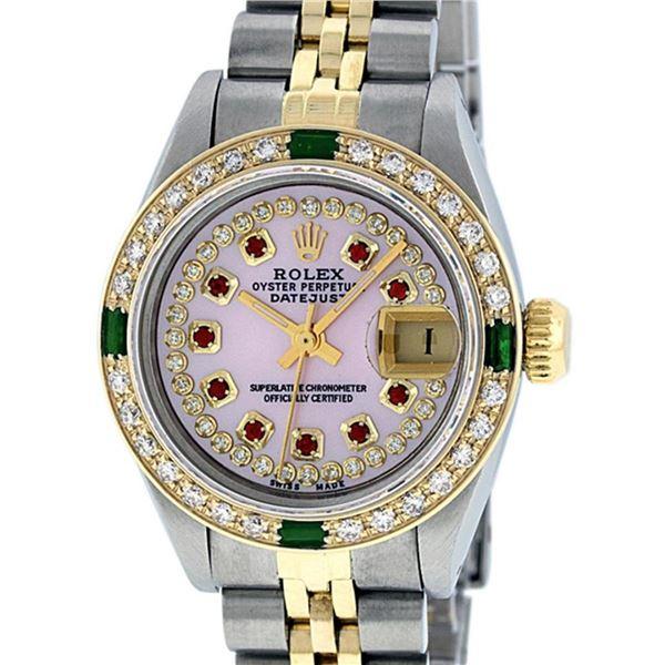 Rolex Ladies 2 Tone Pink MOP Ruby & Emerald 26MM Datejust Wriswatch