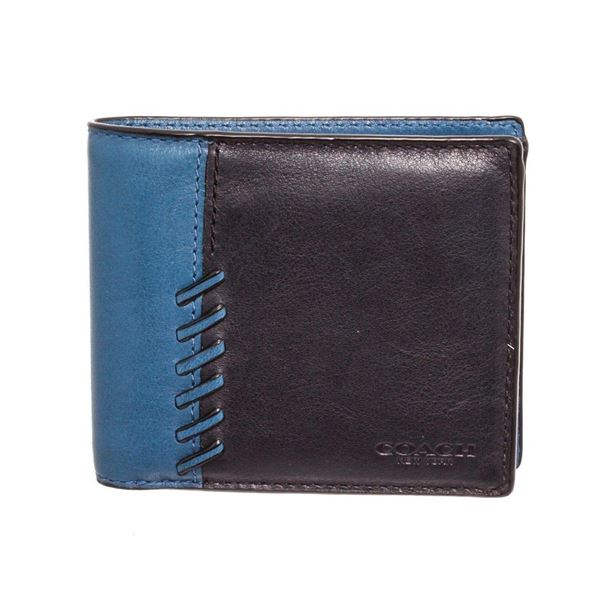 Coach Blue  Black Leather RNR Compact ID Wallet