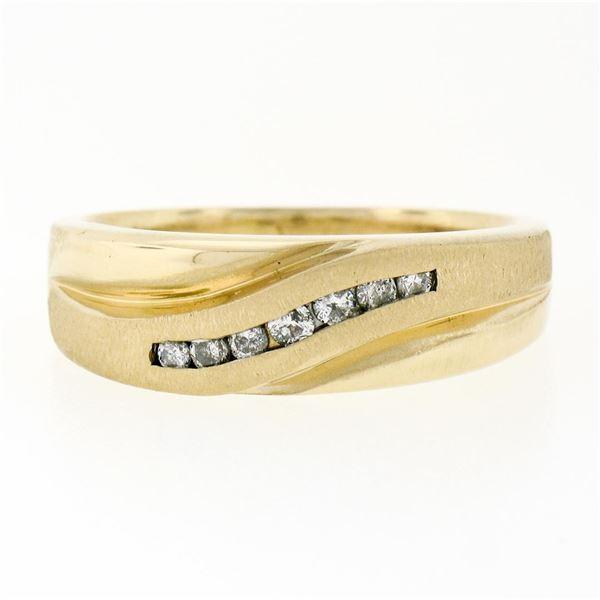 Mens 14k Yellow Gold .18 ctw Round Diamond Wavy Channel Matte & Polished Band Ri