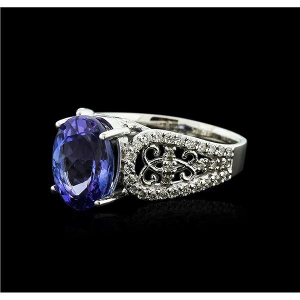 14KT White Gold 4.17 ctw Tanzanite and Diamond Ring