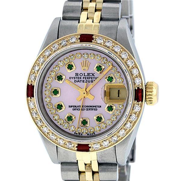 Rolex Ladies 2 Tone Pink MOP Emerald & Ruby Datejust Wriswatch