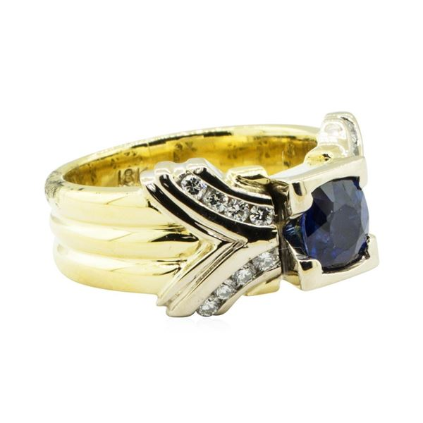 1.41 ctw Round Brilliant Blue Sapphire And Diamond Ring - 18KT Yellow And White
