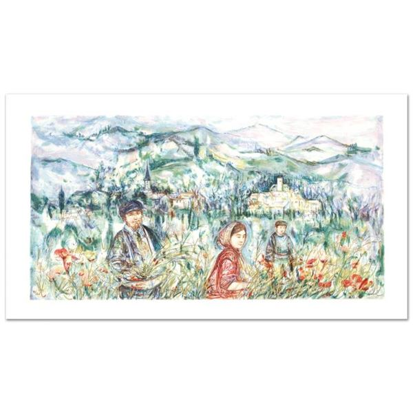 """""""The Flower Harvest"""" Limited Edition Lithograph by Edna Hibel (1917-2014), Numbe"""