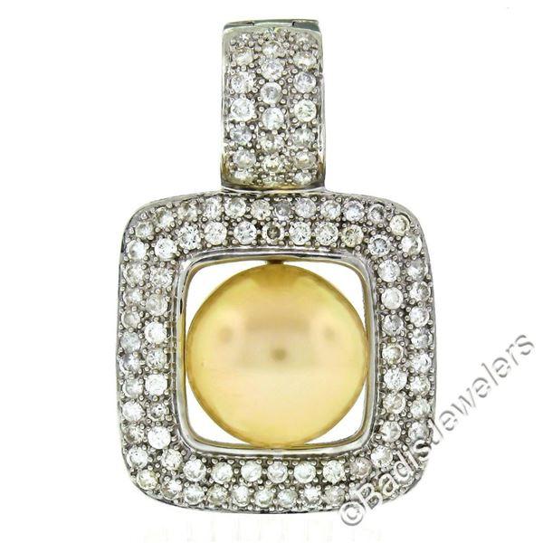 14k White Gold Golden Pearl and 3.00 ctw Diamond Square Enhancer Slide Pendant