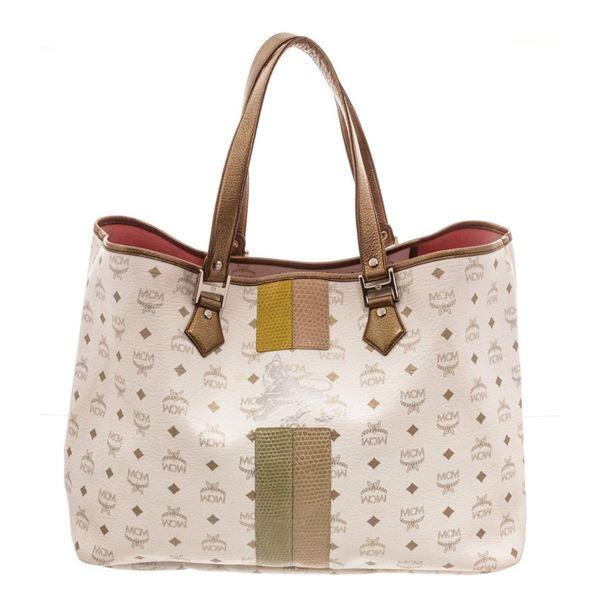 MCM White Large Lion Shopper Tote Bag