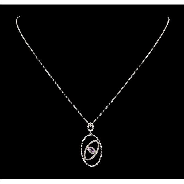 0.25 ctw Morganite and Diamond Pendant With Chain - 14KT White Gold