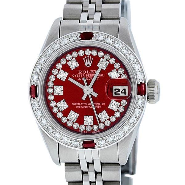 Rolex Ladies Stainless Steel Red Ruby & Diamond Datejust Wristwatch 26MM