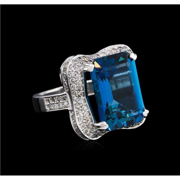 14KT White Gold 16.86 ctw Blue Topaz and Diamond Ring