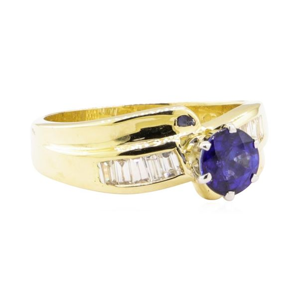 1.32 ctw Blue Sapphire and Diamond Ring - 14KT Yellow Gold