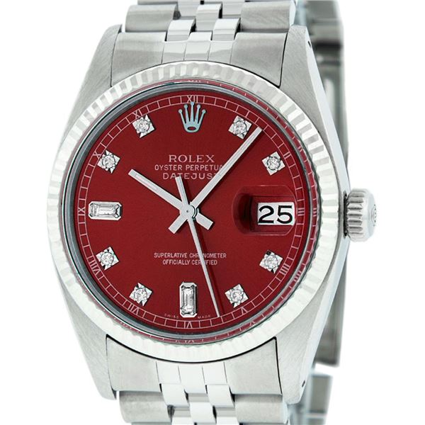 Rolex Mens Stainless Red Diamond 36MM Datejust Oyster Perpetual Wristwatch