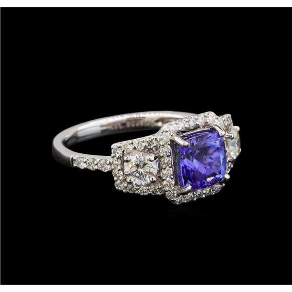 18KT White Gold 1.41 ctw Tanzanite and Diamond Ring