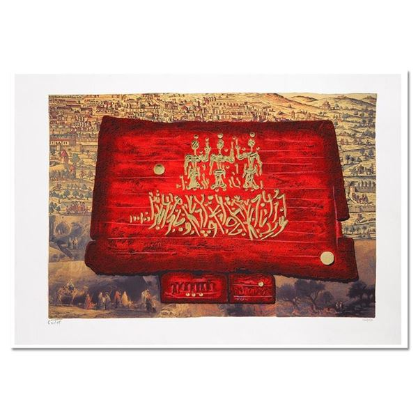 """Moshe Castel, """"Glory to Jerusalem"""" Limited Edition Gold Embossed Serigraph with"""