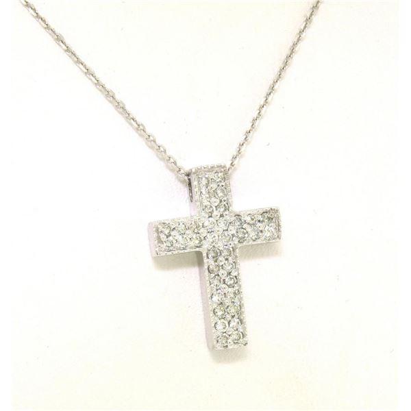 NEW 14k White Gold .65 ctw Pave Set Diamond Box Milgrain Cross Pendant w/ Chain