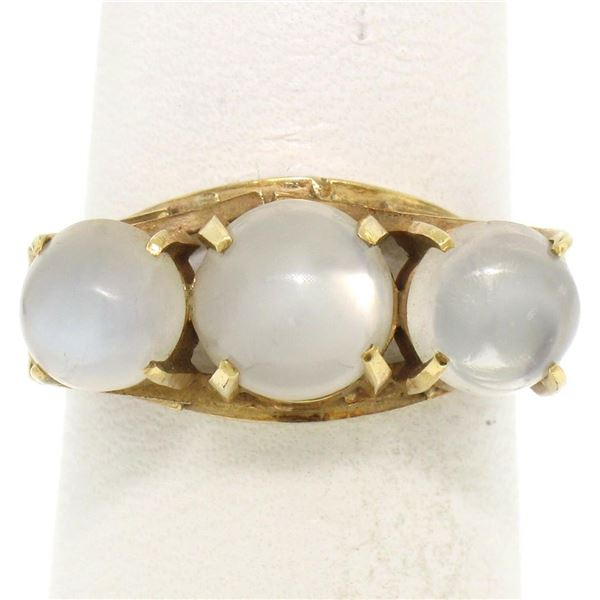 Antique 18k Gold 4.50 ctw Three Stone Cabochon Moonstone Open Work Band Ring