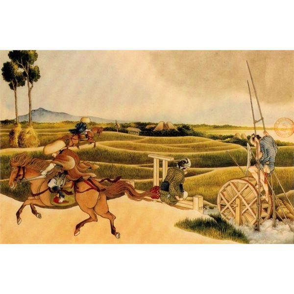 Hokusai - Samurai Riding on Horses