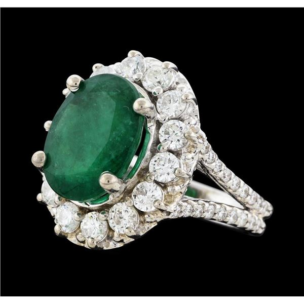 4.70 ctw Emerald and Diamond Ring - 14KT White Gold