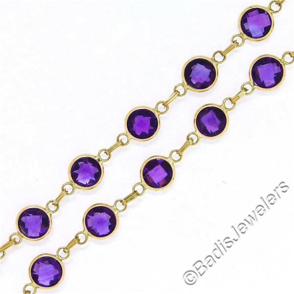 14kt Yellow Gold 10.50 ctw Round Checkerboard Amethyst by the Yard Chain Bracele