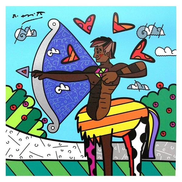 """Britto, """"Sagittarius Black"""" Hand Signed Limited Edition Giclee on Canvas; Authen"""
