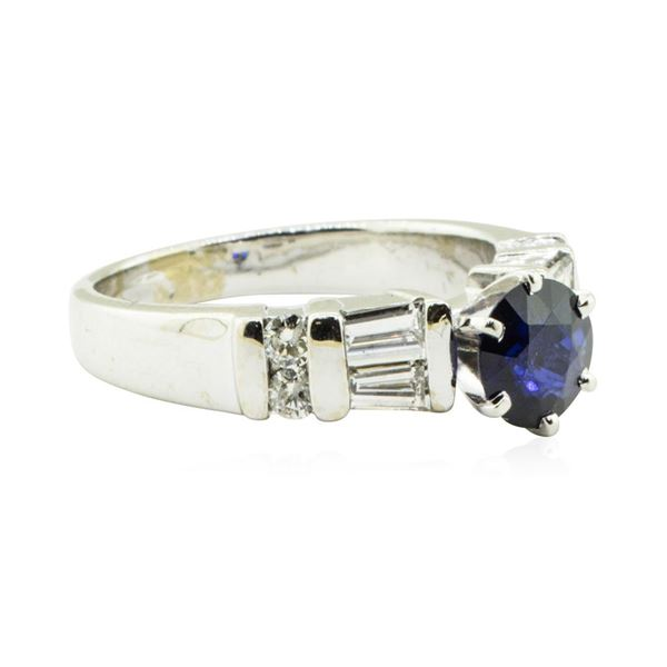 1.89 ctw Round Brilliant Blue Sapphire And Diamond Ring - 14KT White Gold