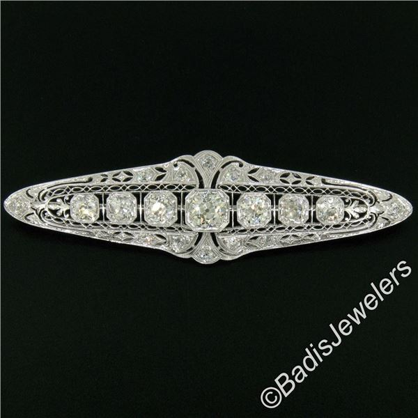 Art Deco Platinum 6.00 ctw Old European and Mine Cut Diamond Filigree Brooch