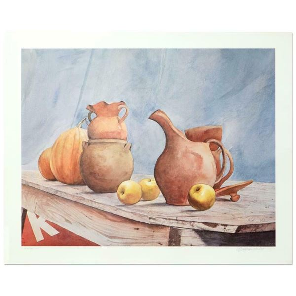 "William Nelson, ""Pottery Still Life"" Limited Edition Lithograph, Numbered and Ha"