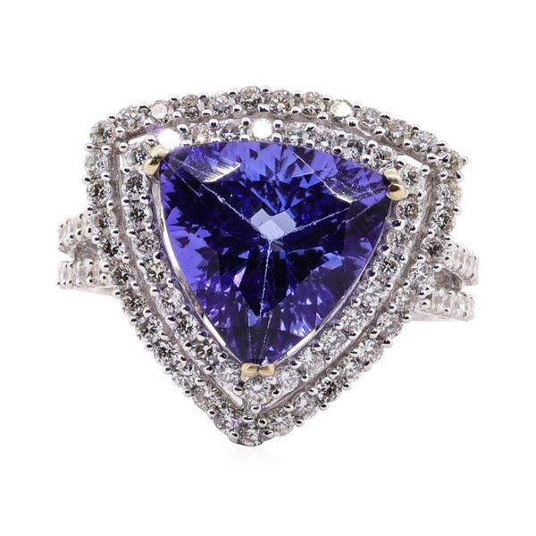4.79 ctw Tanzanite and Diamond Ring - 18KT White Gold