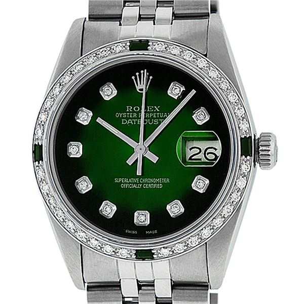 Rolex Mens Stainless Steel 36mm Green Vignette Diamond Datejust Wristwatch